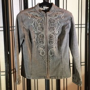 Chicos gray denim jacket with Embroidery